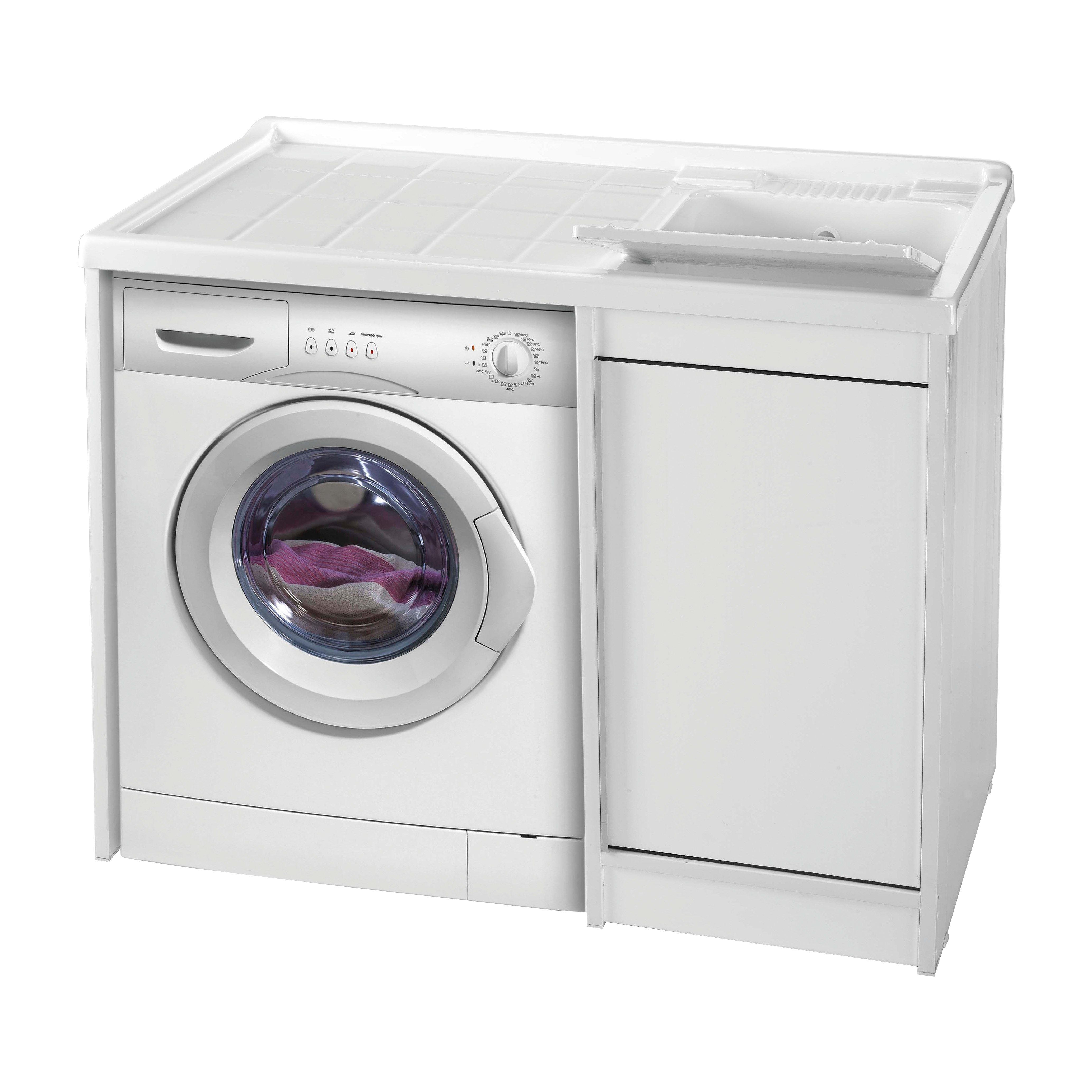 Mobile Lavello E Lavatrice mobile lavanderia strong bianco l 108.5 x p 62 x h 93 cm