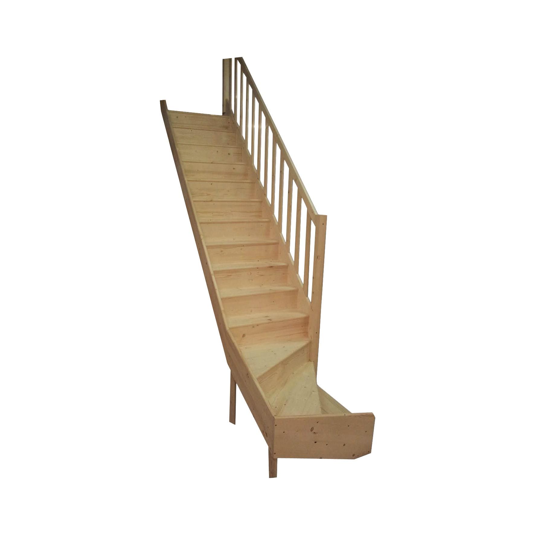 Scala Di Legno Decorativa scala a rampa a l delphis destra l 83 cm, gradino grezzo, struttura abete  naturale