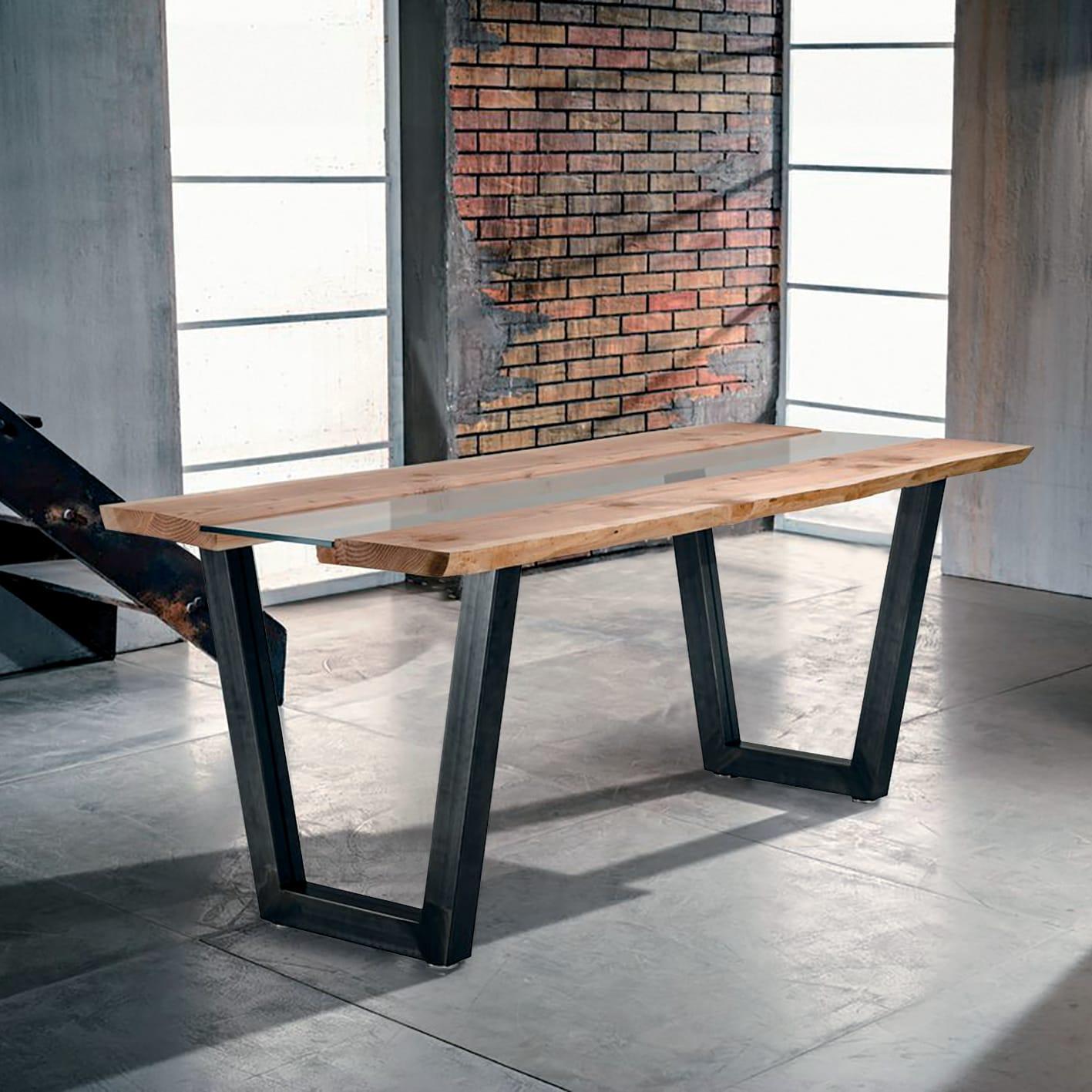 Legno Grezzo Per Tavoli tavolo rettangolare vertigo con piano in legno l 85 x p 160 cm