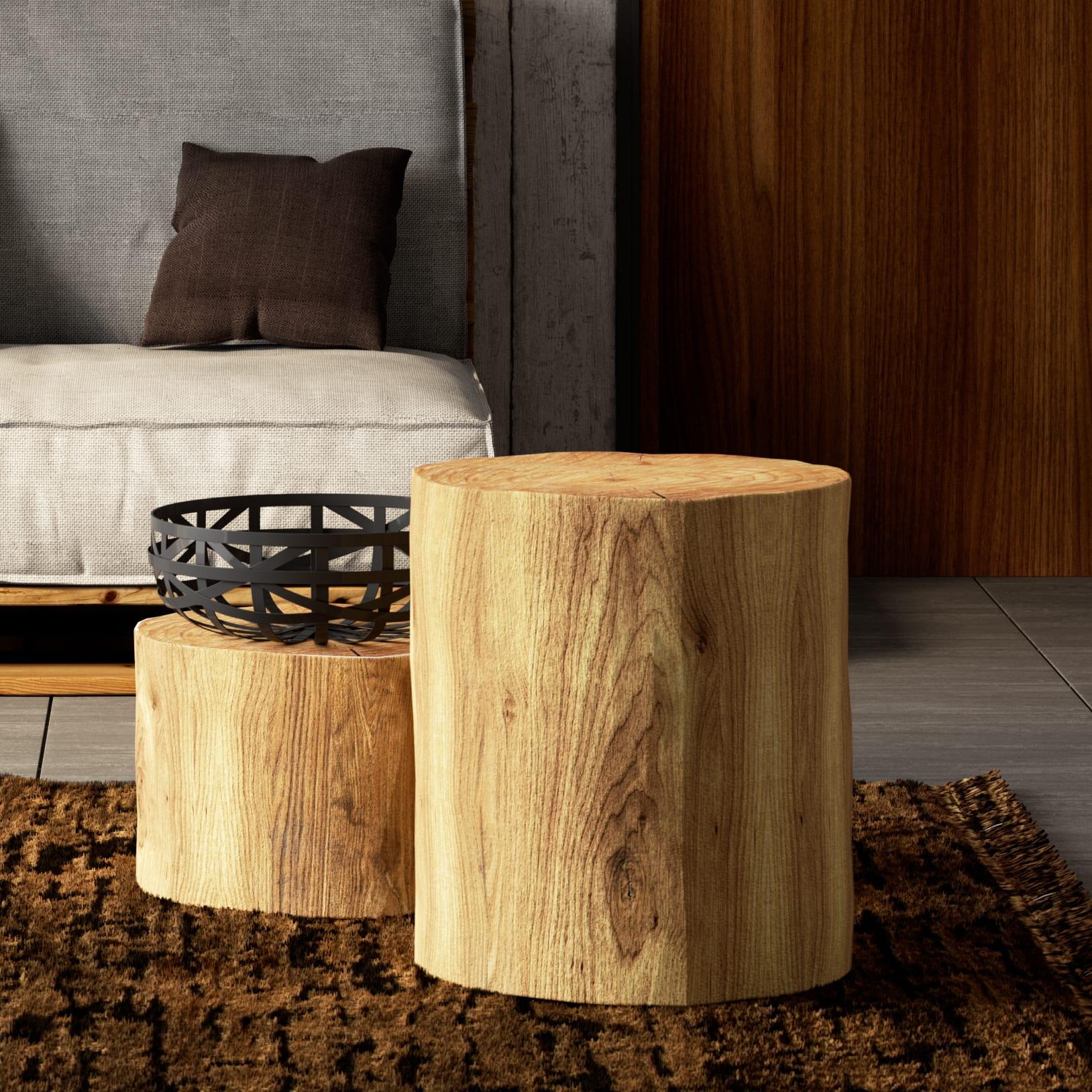 Ceppo Di Legno Tavolino tronco tondo grezzo 450 mm Ø 300/400 mm