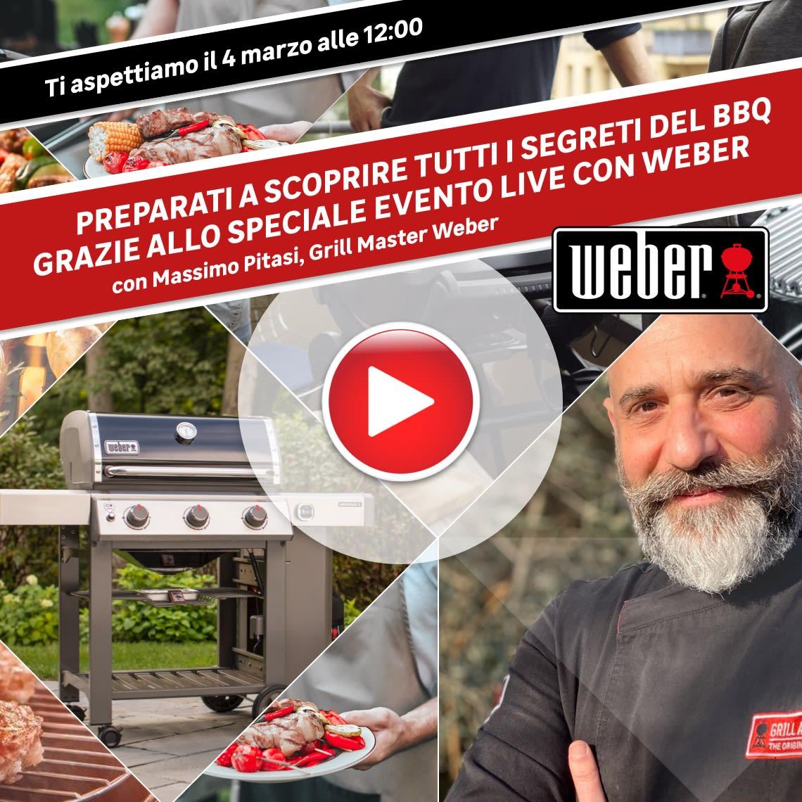 Evento Weber online: ti aspettiamo il 4/03