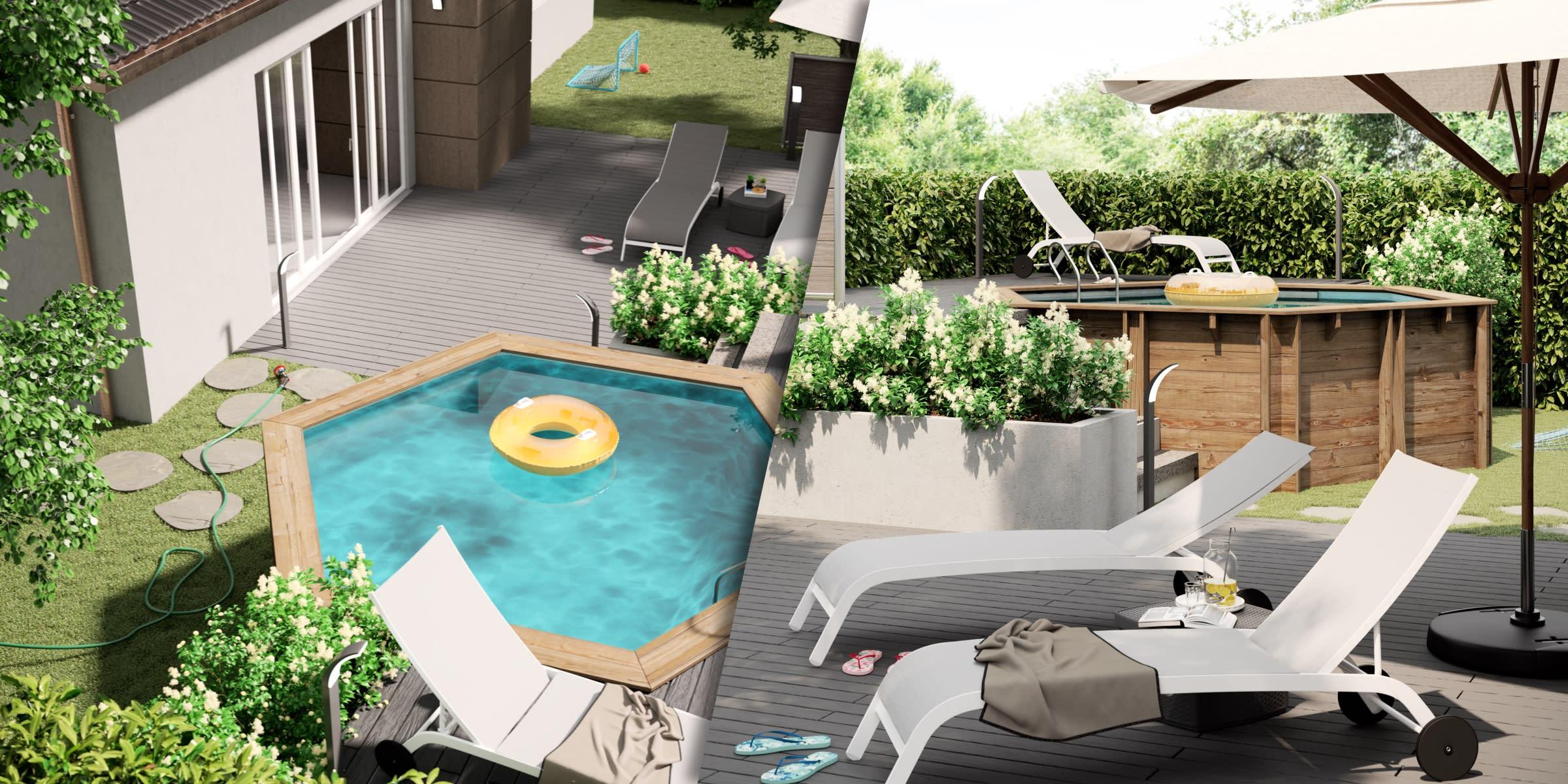 progetto giardino con piscina da esterno