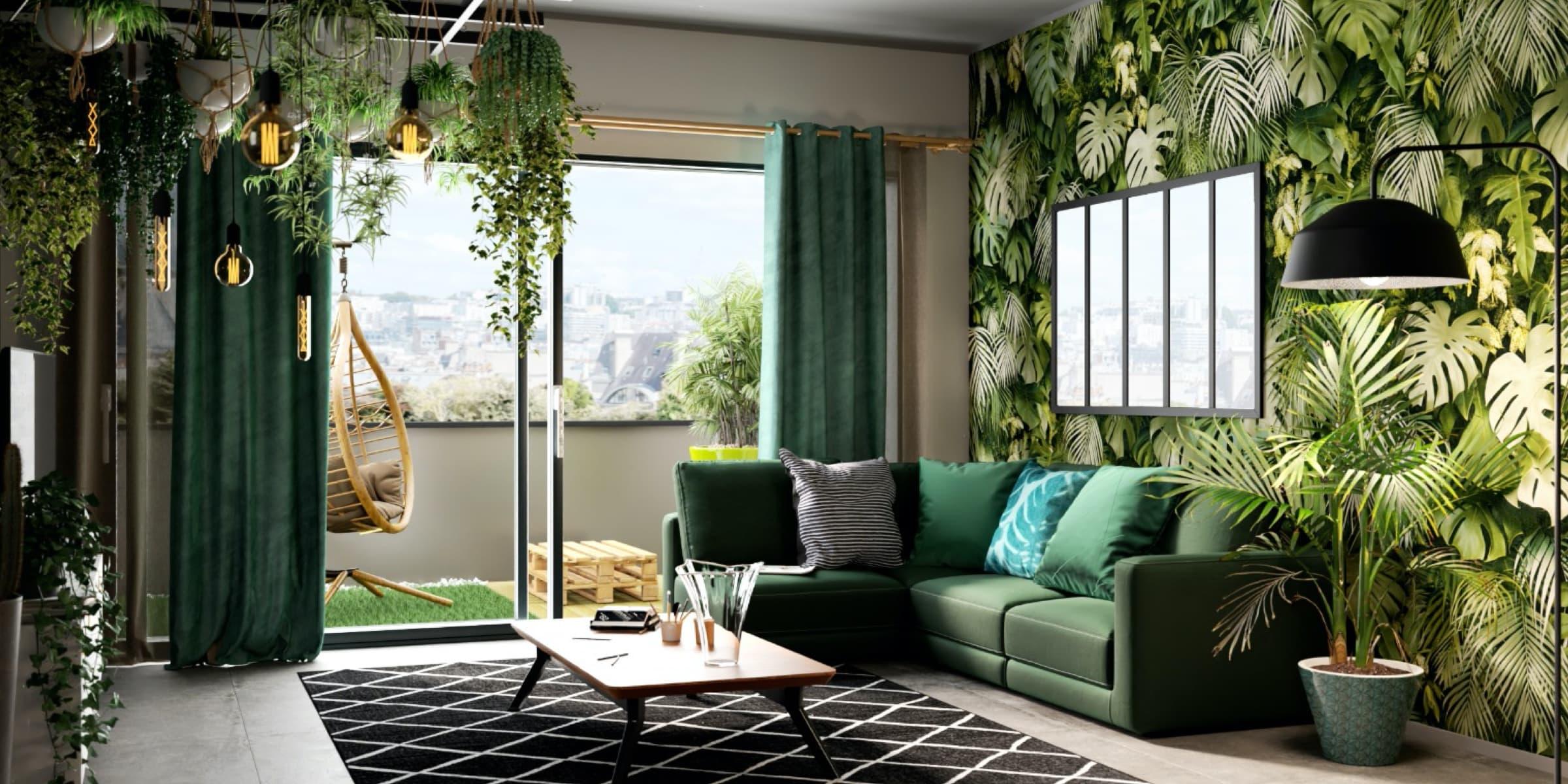 soggiorno industrial green