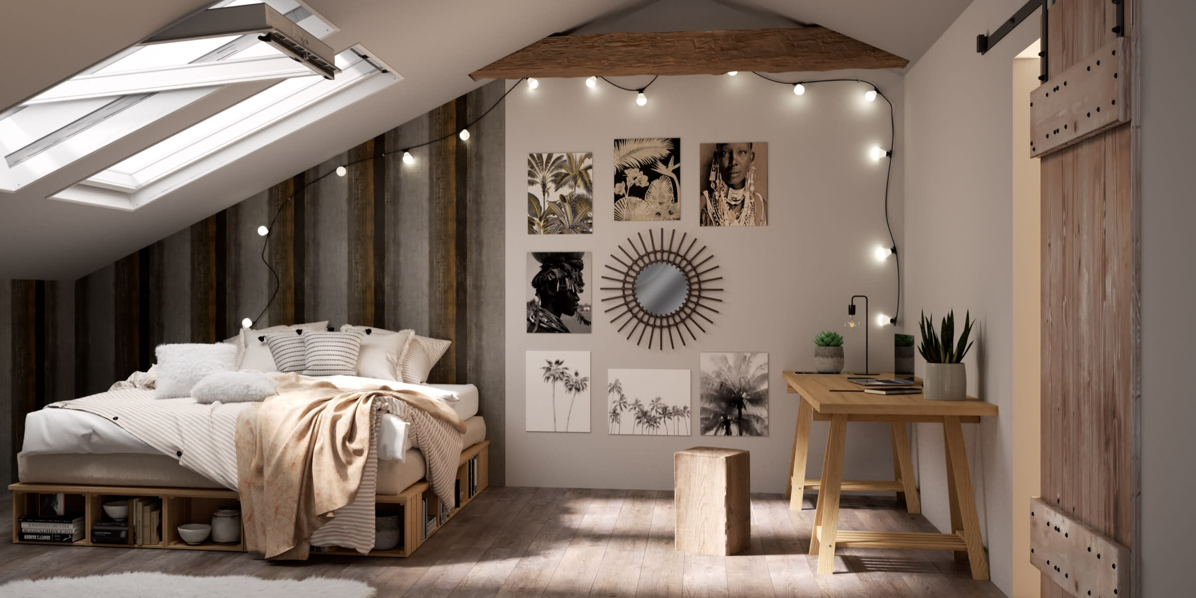 camera da letto mansarda stile boho