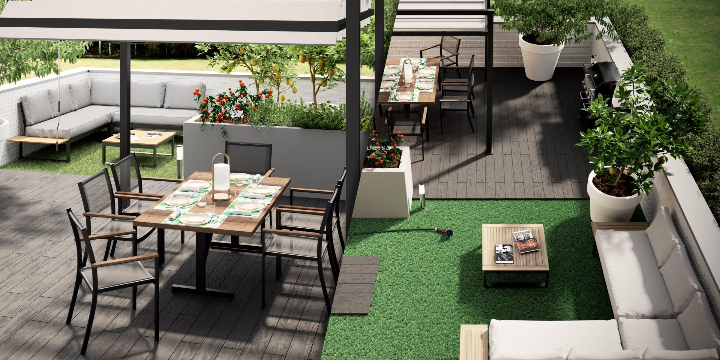 progetto terrazzo zona pranzo barbecue