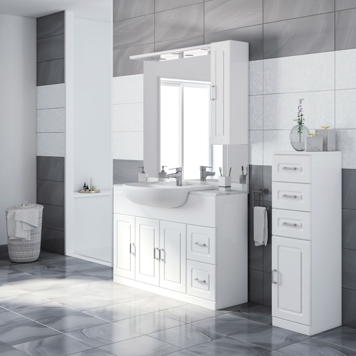 Mobile bagno paola bianco l 120 cm prezzi e offerte online - Mobili bagni leroy merlin ...