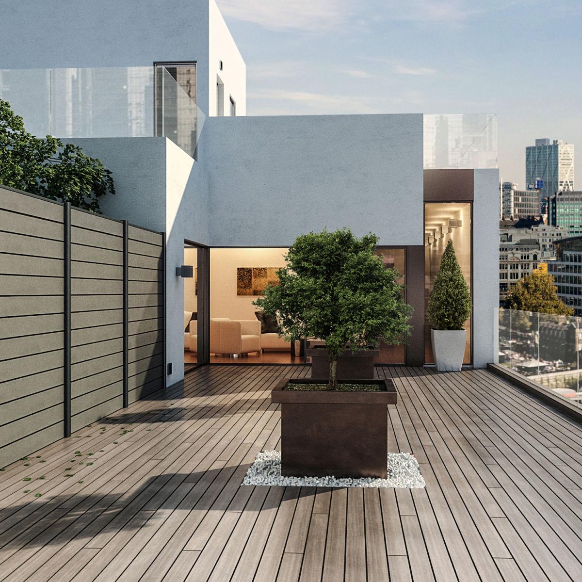 Fabulous giardino e kyoto pannelli antracite l x h cm with for Giardini sui terrazzi