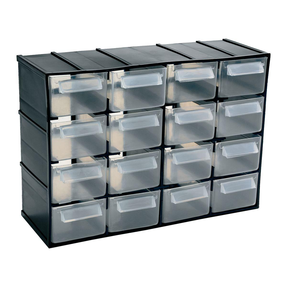 cassettiera porta minuterie, colore nero/trasparente: prezzi e