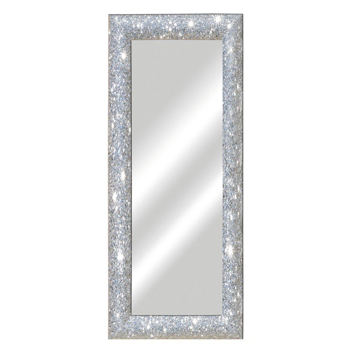 Specchio da parete rettangolare glitterata argento 62 x for Specchio da parete argento