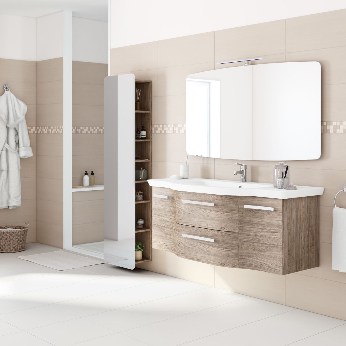 Mobile bagno contea rovere l 126 cm prezzi e offerte online for Mobile da bagno