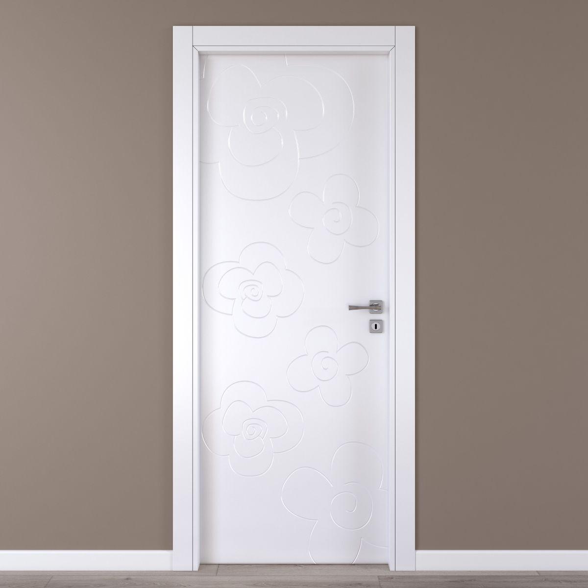 Porta da interno battente flower white bianco 80 x h 210 for Copriwater leroy merlin