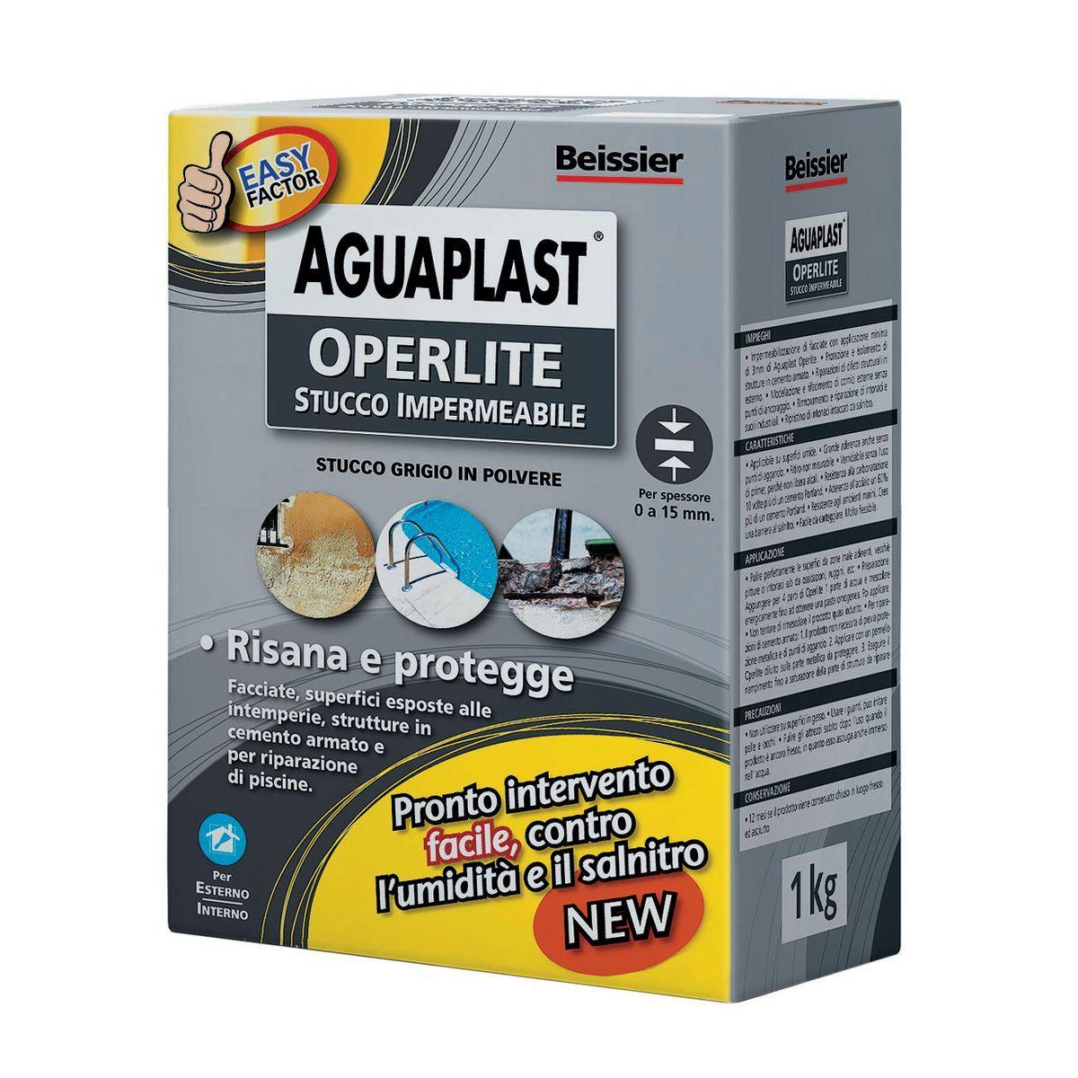 Stucco in polvere aguaplast operlite ruvido grigio 1 kg for Stendibiancheria leroy merlin