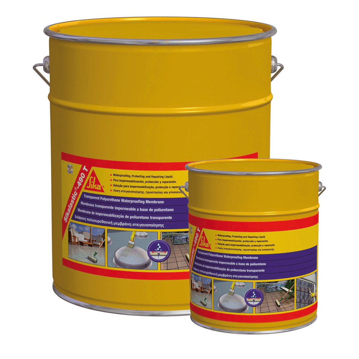 Membrana liquida sikalastic 490 t sika trasparente 5 l for Guaina liquida leroy merlin