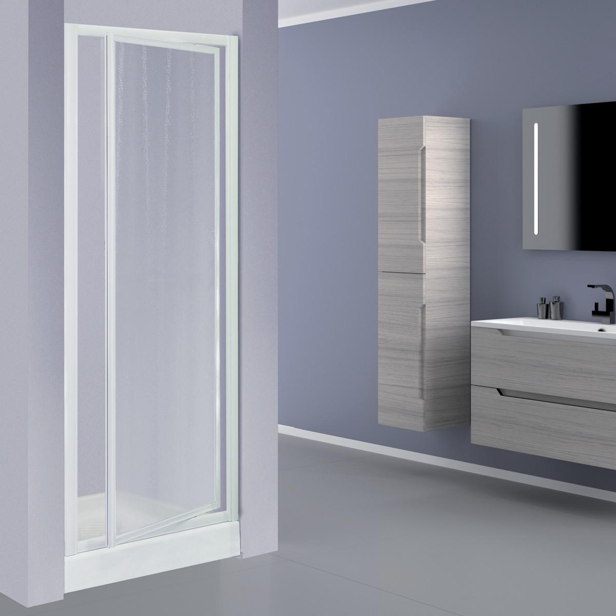 Porta doccia elba 1 anta a battente stampato bianco 78 82 for Porta pieghevole a libro leroy merlin
