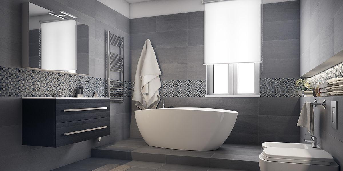 Come arredare un bagno moderno grande con vasca e doccia for Doccia solare da giardino leroy merlin