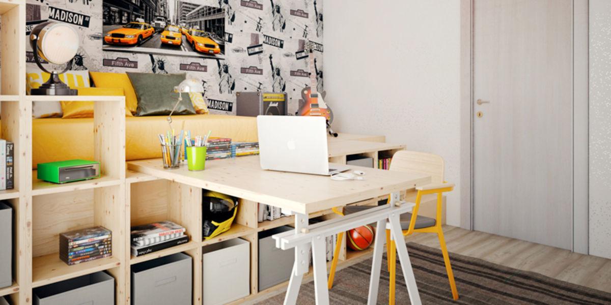 Arredare camera da letto per adolescenti fai da te leroy for Mobili da studio