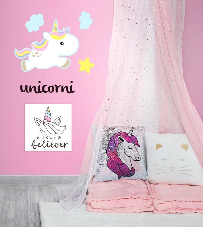 Camera da letto - Arredare la cameretta con tanto rosa e animali leggendari