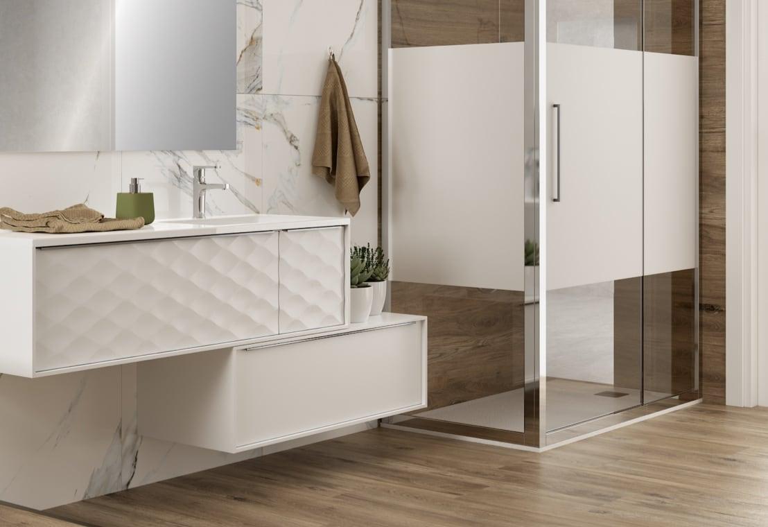 Bagno - Bagno effetto marmo e legno, elegante combinazione