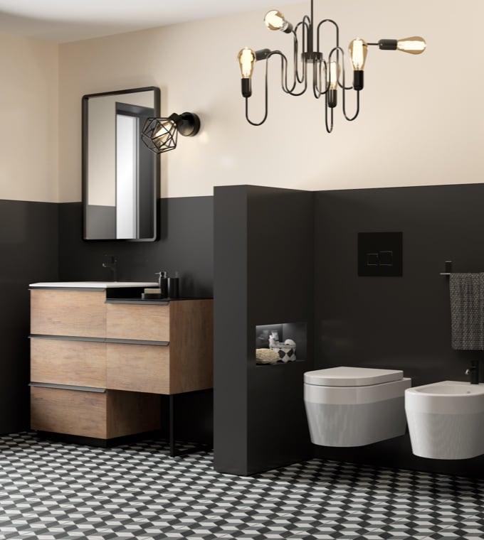 Bagno - Bagno nero e legno, stile contemporaneo e maschile