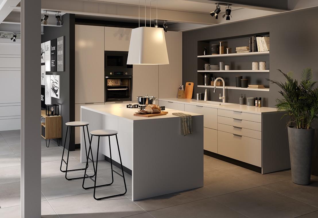 Cucina - Una cucina a isola in stile Labo in un loft open space