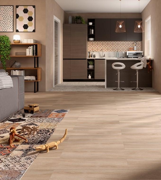 Living - Abbinare gres effetto pietra ed effetto legno