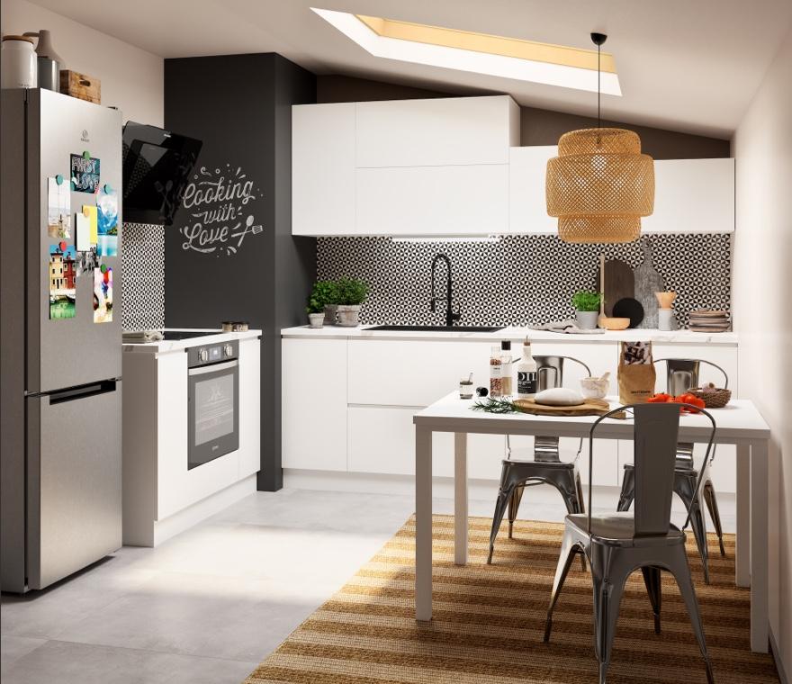 Cucina - Una cucina mansardata funzionale