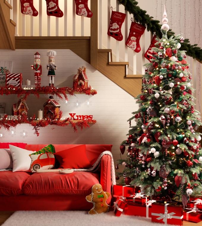 Natale - Decorare la casa di bianco e rosso a Natale