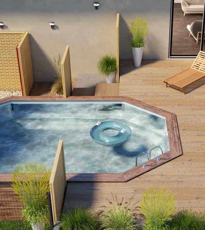 Giardino - Oggi tutti in piscina: ecco un giardino con piscina che subito fa vacanza