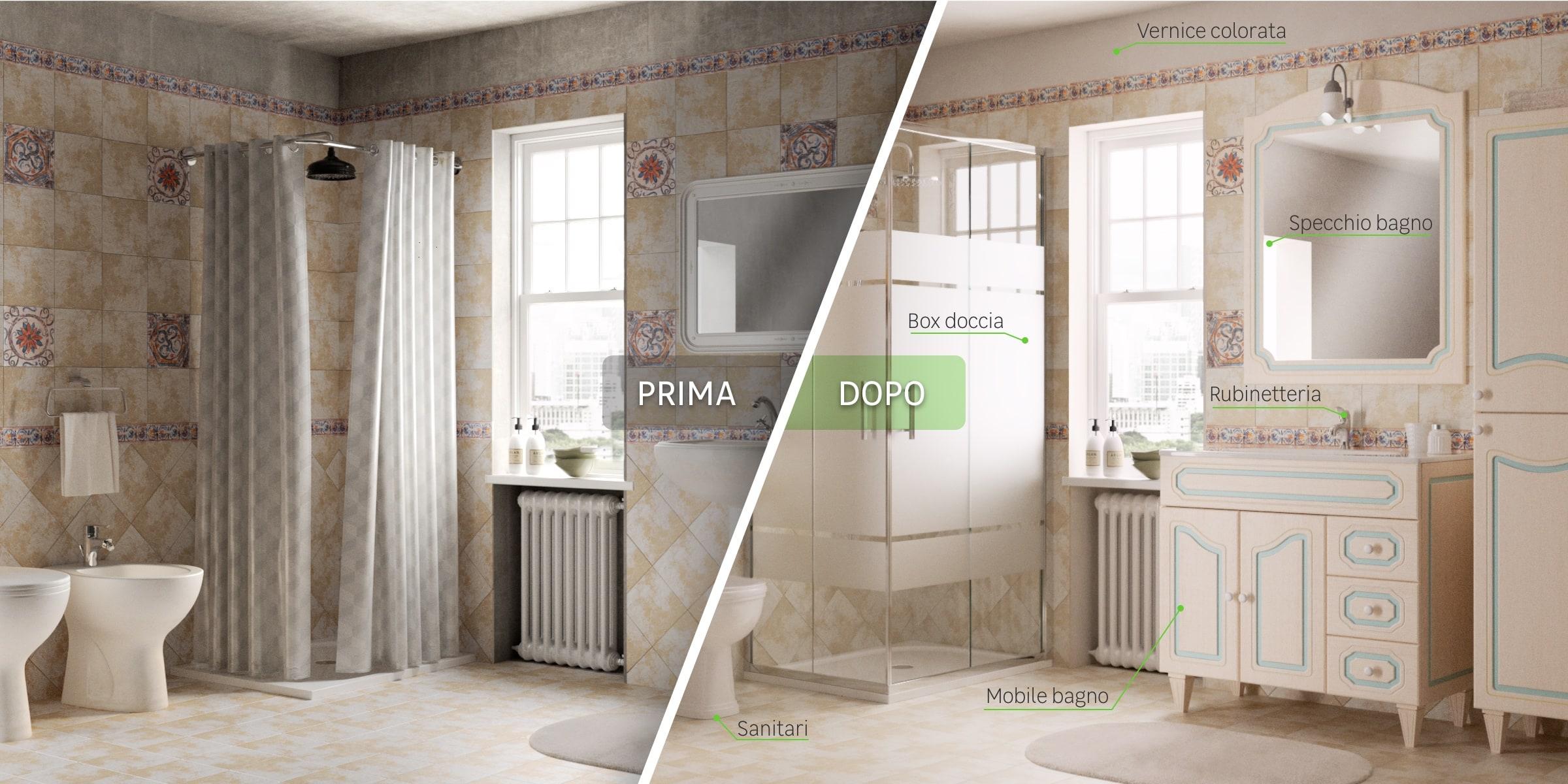 Immagine bagno prima/dopo - tradizionale