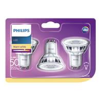 Set di 3  lampadine LED, GU10, Faretto, Trasparente, Luce calda, 4.6W=355LM (equiv 50 W), 36° , PHILIPS