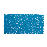 Tappeto antiscivolo rettangolare Mr peeble in pvc azzurro 70 x 35 cm