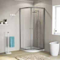 Box doccia stondato scorrevole 80 x 80 cm, H 185 cm in alluminio e vetro, spessore 5 mm trasparente cromato