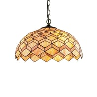 Lampadario Romantic Charm Liberty arancione, bronzo, rame, ruggine in vetro, D. 45 cm, L. 107 cm, 3 luci, FAN EUROPE
