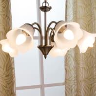 Lampadario Rustico Victoria bianco in metallo, D. 48 cm, 5 luci, INSPIRE