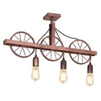 Lampadario Industriale Pav rame in metallo, L. 73 cm, 3 luci