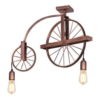 Lampadario Industriale Ruota rame in metallo, L. 64 cm, 2 luci