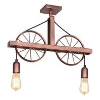 Lampadario Industriale Ruota rame in metallo, L. 52 cm, 2 luci