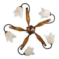 Plafoniera rustico Dedra marrone e oro, in vetro,  D. 69 cm 5  luci