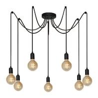 Lampadario Industriale Reticulum nero in metallo, L. 70 cm, 7 luci