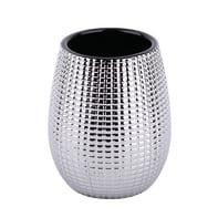 Bicchiere porta spazzolini Queen in ceramica cromo