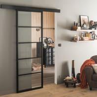 Porta scorrevole con binario esterno Cloe in alluminio Kit Atelier L 86 x H 215 cm