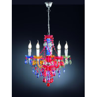 Lampadario Barocco Luster multicolore in metallo, D. 52 cm, L. 150 cm, 5 luci, REALITY