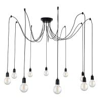 Lampadario Design Wire nero in metallo, D. 180 cm, L. 93 cm, 10 luci