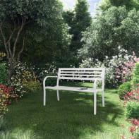 Panca da giardino senza cuscino in acciaio colore bianco
