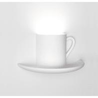 Applique design Tazzina bianco, in gesso, 15x28 cm, TECNICO