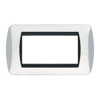 Placca CAL Living International 4 moduli cromo lucido/satinato compatibile con living international