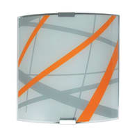 Applique pop Trust arancione, bianco, grigio e alluminio, in vetro, 20x20 cm, LUMICOM