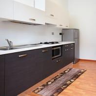 Tappeto cucina antiscivolo Full cuori , marrone, 55x280 cm