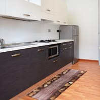 Tappeto cucina antiscivolo Full cuori , marrone, 55x130 cm