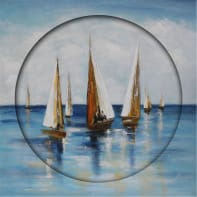 Quadro dipinto a mano Sail Boats 80x80 cm